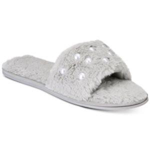 INC Pearl Embellished Faux Fur Slide Slippers